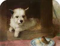 a terrier and a robin by thomas william earl