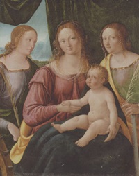 the madonna and child with saint catherine of alexandria and another saint by giovanni agostino da lodi