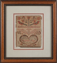 fraktur decorated copybook for magdalena kratz 1785, decorated with birds, a tulip tree, a double-headed eagle, and a heart enclosing script by johann adam eyer