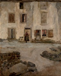 femme devant sa maison by jacques gotko