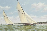 lulworth and britannia powering to windward off cowes by richard m. firth