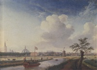a cappricio view of the hague, with figures walking along a river and a barge by jan ten compe