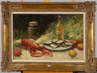nature morte aux huîtres et au homard by alfred théodore joseph bastien
