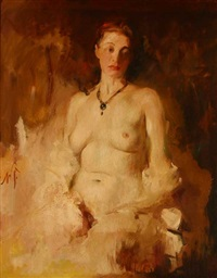 seated nude by william frederick foster