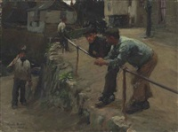 figures on a quay, mousehole by harold harvey