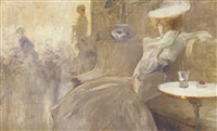 an elegant lady in a café by alexandre de cabanyes