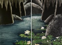 water garden/homage to bachelad (diptych) by daniel joshua goldstein
