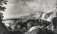 figures travelling on a mountain road in a panoramic    landscape by joos de momper the elder