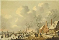 a frozen winter landscape with skaters by fredericus theodorus renard