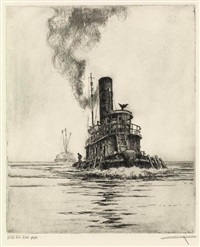 the tug boat (+ tramp and tug; 2 works) by otto august kuhler