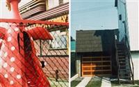 dinosaur play-ground, family restaurant, england (+ garage, staten island, new york, 1976; 2 works) by dan graham