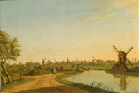a view of leiden looking from the north to the south with a tow-boat on the haarlemmertrekvaart, the marekerk, the tower of the stadhuis, the onze lieve vrouwe kerk, the p by paulus constantijn la (la fargue) fargue