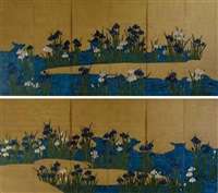 irises by a stream (+ another; pair) by japanese school-rimpa (19)