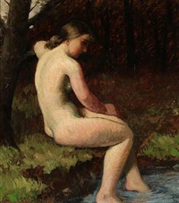 a nude female model in the woods by helge helme