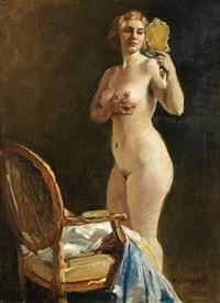 nu féminin au miroir by miklos (nickolas) mihalovits