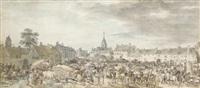 la place du marché d'une ville du nord by jean-baptiste (louis) le paon