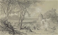 view of capri from across the bay at massa, italy by edward lear