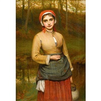 young woman in a wooded landscape by charles sillem lidderdale