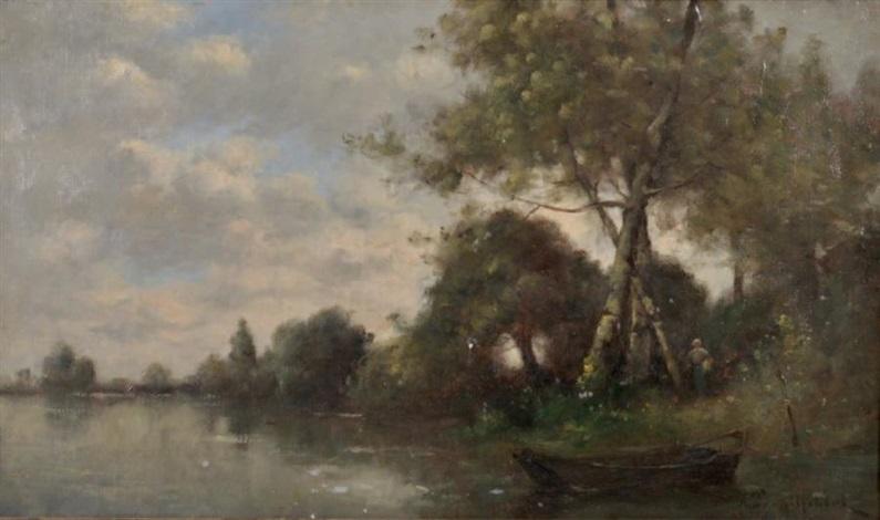 paysage animé au bord de la rivière by paul désiré trouillebert