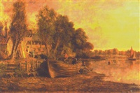 banks of the thames near kew by jacob george strutt
