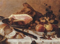 peaches, gooseberries, redcurrants and blueberries in a porselein bowl, with a ham, a bread roll and a knife on a draped table by roelof koets the elder