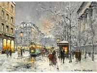 boulevard des capucines sous la neige, paris by antoine blanchard