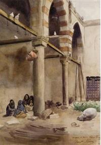 ecole coranique dans la mosquée de fayoum, egypte by ernest constant simon