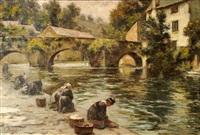 lavandières au pont fleuri à quimperlé by georges fichefet