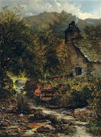 the stepping stones, pentre du, betws-y-coed by charles pettitt