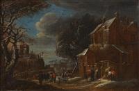 personnages dans une rue d'un village enneigé by mathys schoevaerdts