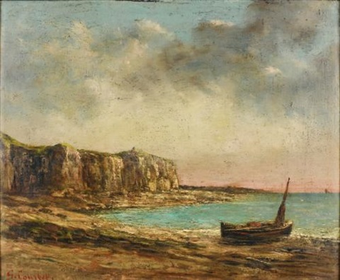 vue de la côte normande by gustave courbet