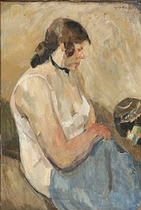 a sitting woman by carl fischer