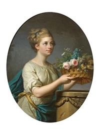 jeune fille a la corbeille de fleurs by michel rabillon
