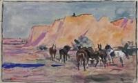 chevaux devant les collines by lucien simon