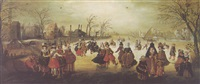 a winter landscape with elegant figures skating on a frozen river by adam van breen