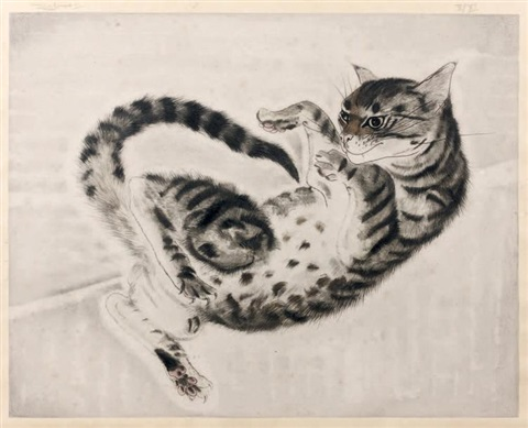 chat couché from les chats by léonard tsuguharu foujita