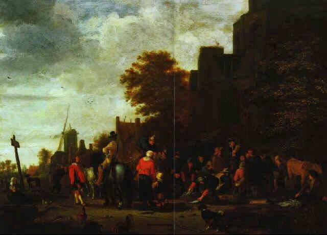 fischmarkt in einem hollandischen dorf by johannes dircksz oudenrogge