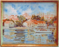 sailboats in the harbor by marie-lucie nessi-valtat