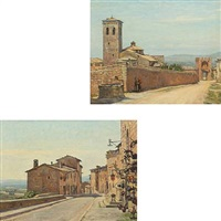 abbazia san pietro and via fonte bella assisi (2 works) by stephan peter jakob hjort ussing