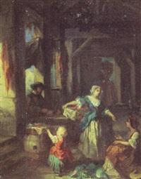 interiör med kvinnor och barn by jean marius fouque
