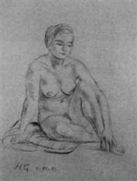 auf einem kissen sitzender, weiblicher akt by hermann geibel