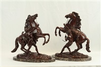 pair of bronze sculptures- marked by guillaume cousteau