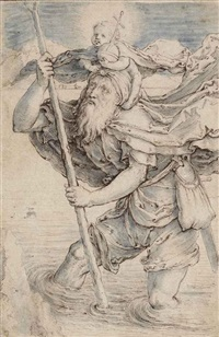saint christopher carrying the christ child, after lucas van leyden by jacques de gheyn ii