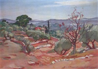 paysage aux oliviers by maurice savreux