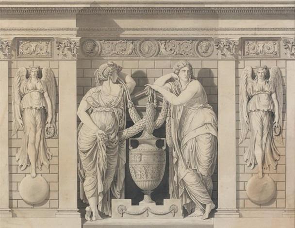 deux figures près damphores entourées de deux anges by jean guillaume moitte