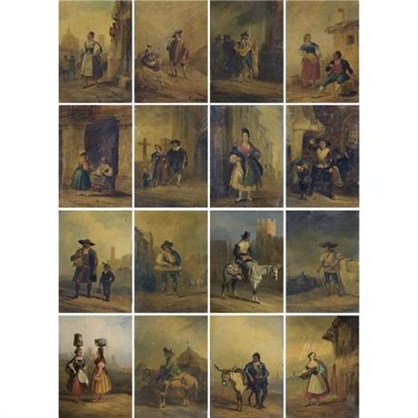 costumbrista scenes with spanish folkloric types 16 works by genaro perez villaamil