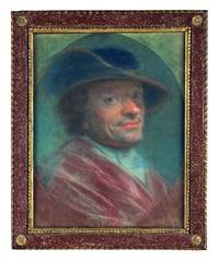 ritratto di uomo con veste rossa e cappello blu; ritratto di uomo con cappello nero (2 works) by maurice quentin de la tour