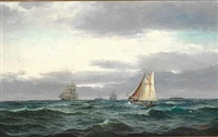 marine with several ships, gray rainy clouds and a bit of blue sky by edvard skari