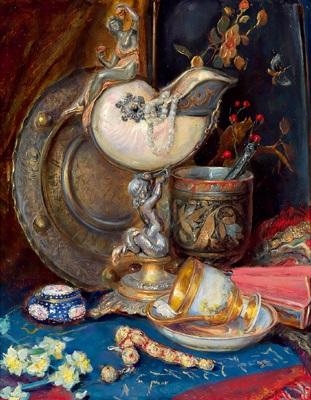 antiquitätenstilleben mit russischem hohloma geschenkbecher by stefanie wachtel