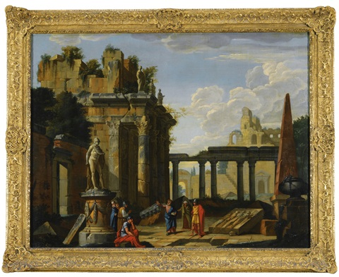an architectural capriccio with classical figures by giovanni paolo panini